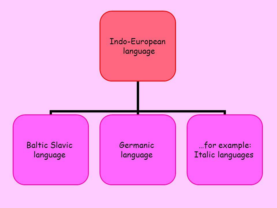 Indo-European language Baltic Slavic language Germanic language …for example: Italic languages
