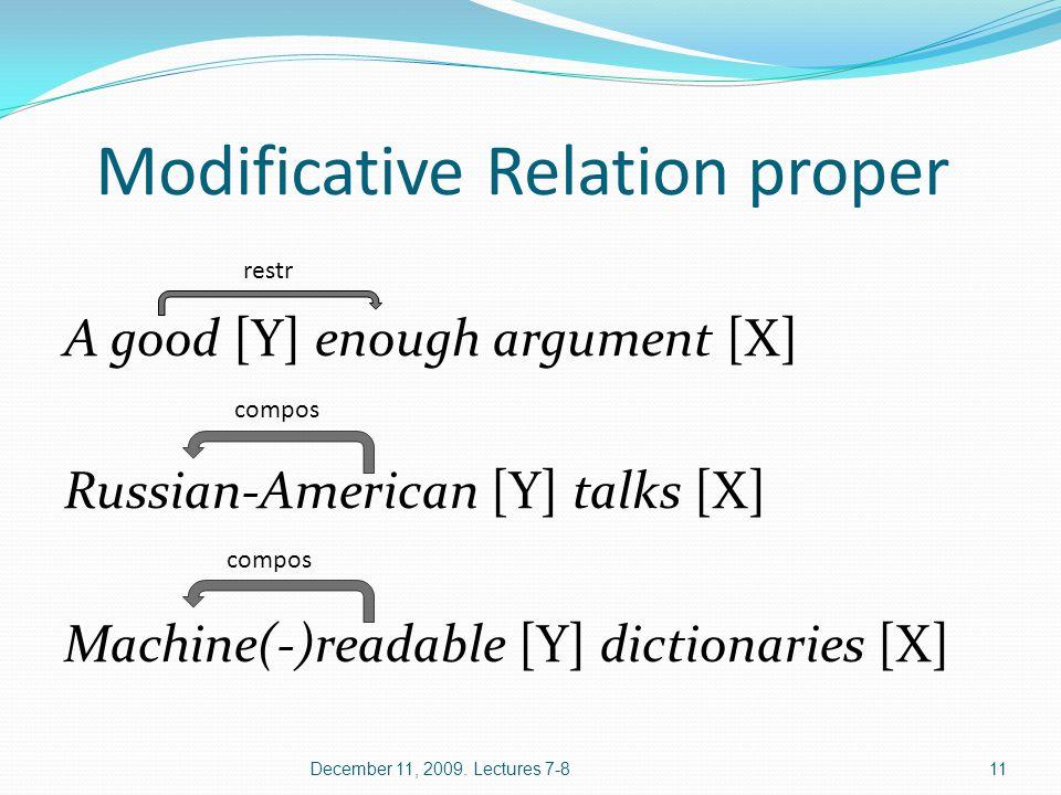 Modificative Relation proper A good [Y] enough argument [X] Russian-American [Y] talks [X] Machine(-)readable [Y] dictionaries [X] December 11, 2009.