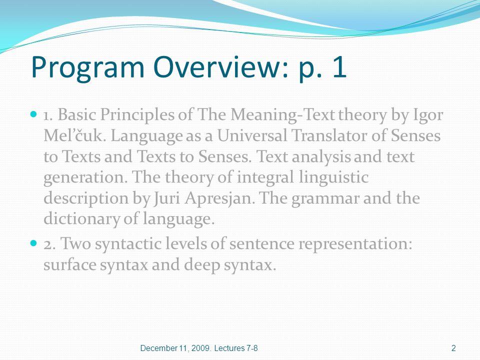 Program Overview: p.2 3.