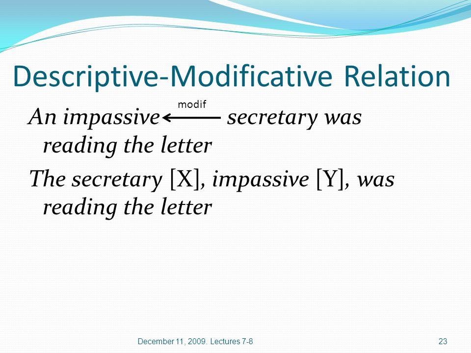 Descriptive-Modificative Relation An impassive secretary was reading the letter The secretary [X], impassive [Y], was reading the letter December 11, 2009.