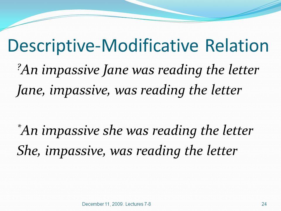 Descriptive-Modificative Relation .