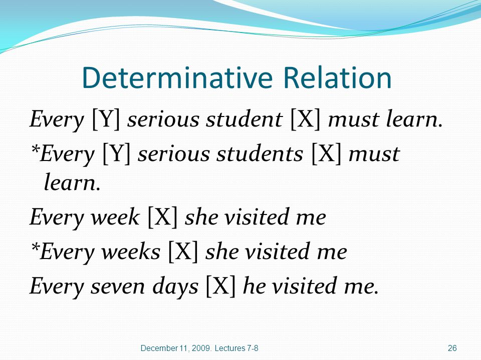Determinative Relation Every [Y] serious student [X] must learn. *Every [Y] serious students [X] must learn. Every week [X] she visited me *Every week