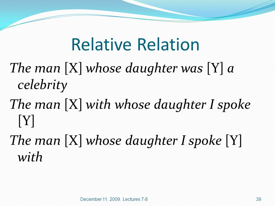 Relative Relation The man [X] whose daughter was [Y] a celebrity The man [X] with whose daughter I spoke [Y] The man [X] whose daughter I spoke [Y] wi