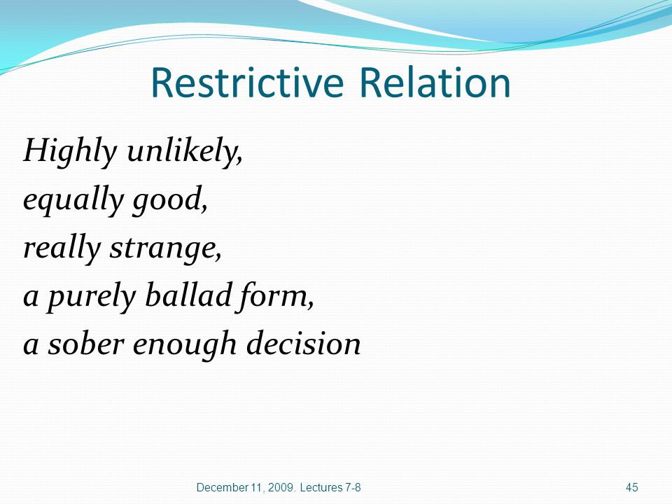 Restrictive Relation Highly unlikely, equally good, really strange, a purely ballad form, a sober enough decision December 11, 2009. Lectures 7-845