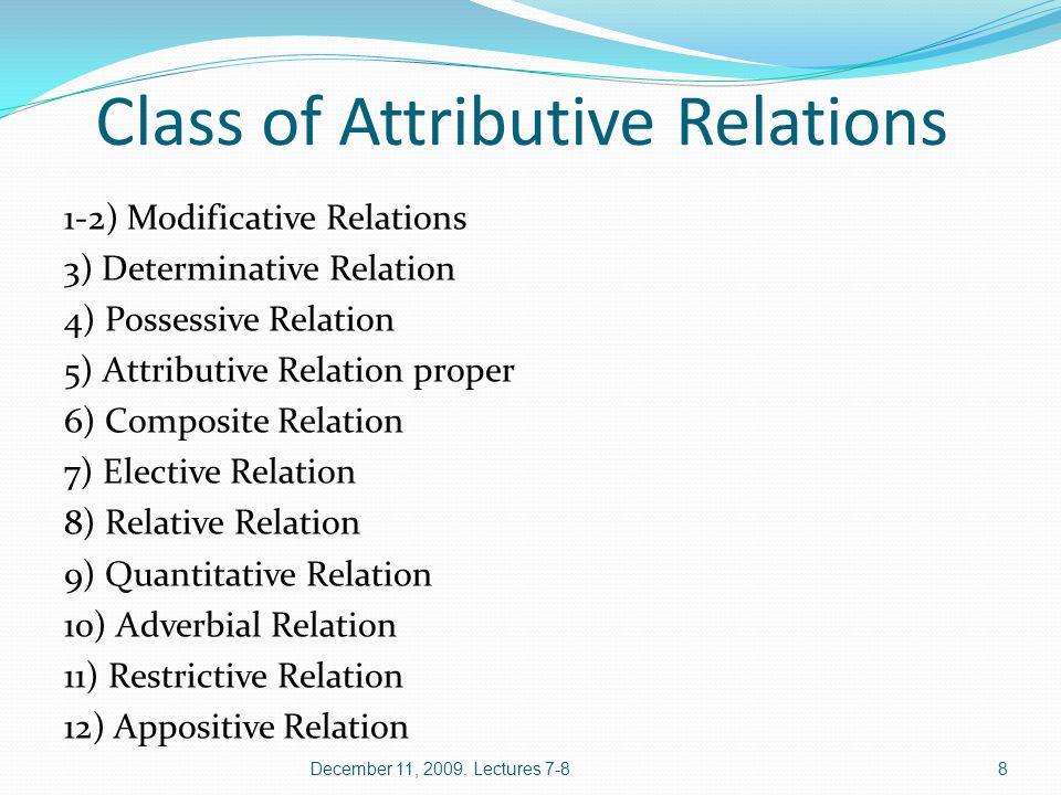Modificative Relations Modificative Relation proper Descriptive-modificative Relation December 11, 2009.