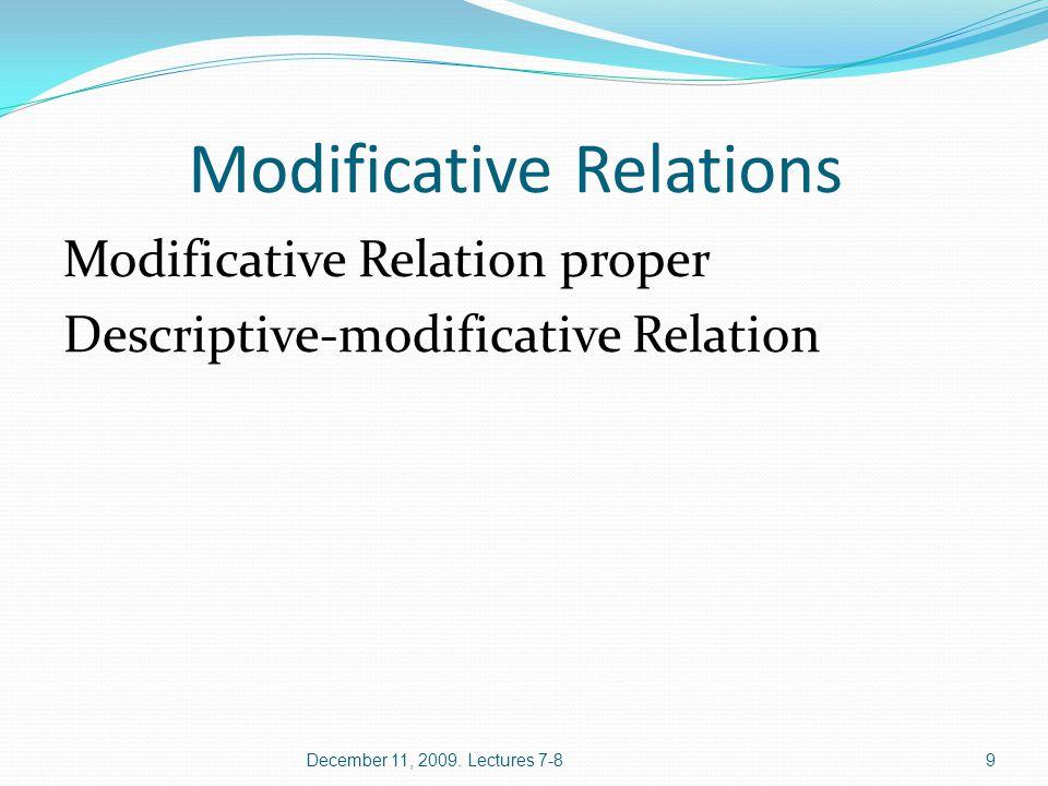 Modificative Relation proper Good [Y] weather [X] A silly [Y] boy [X] December 11, 2009.