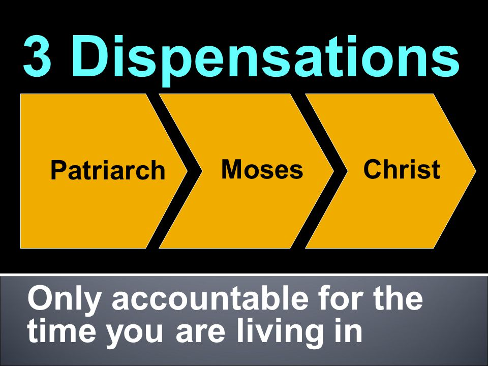 Only accountable for the time you are living in 3 Dispensations Patriarch MosesChrist