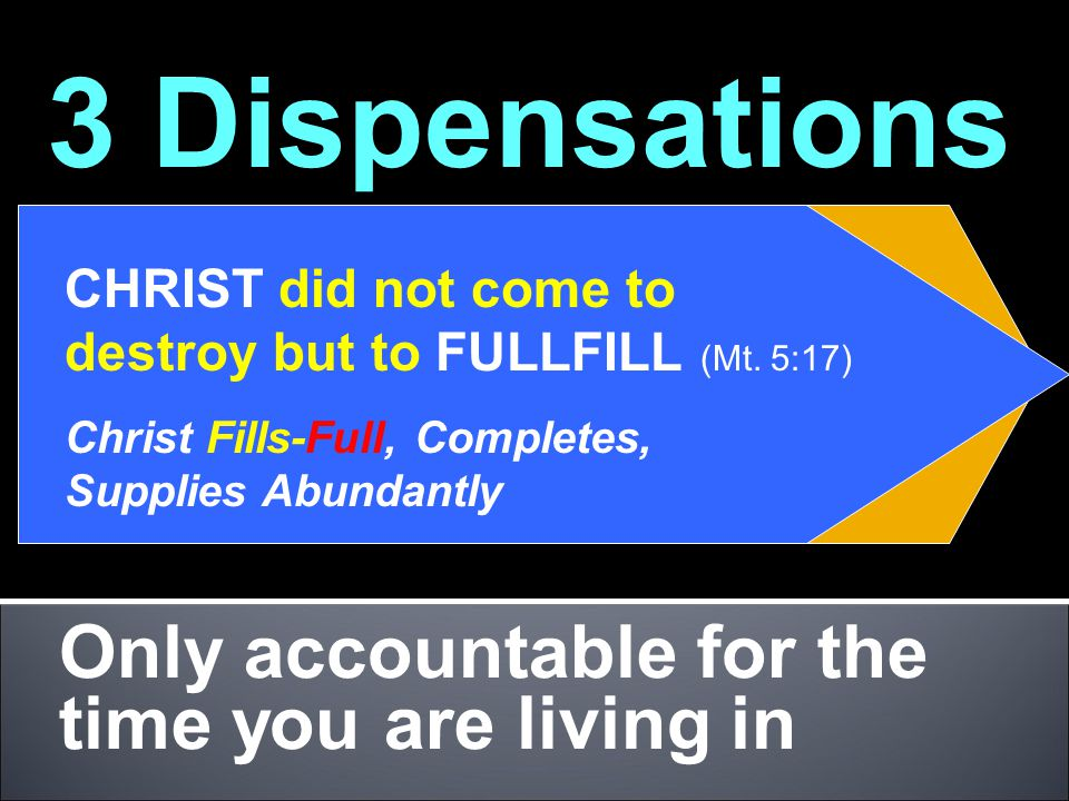Only accountable for the time you are living in 3 Dispensations Patriarch MosesChrist CHRIST did not come to destroy but to FULLFILL (Mt. 5:17) Christ