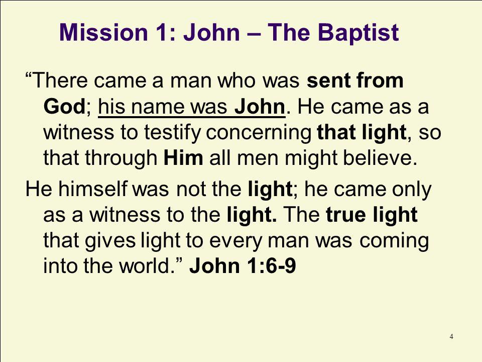 5 PURPOSE: To Prepare the Way John testifies concerning Him.