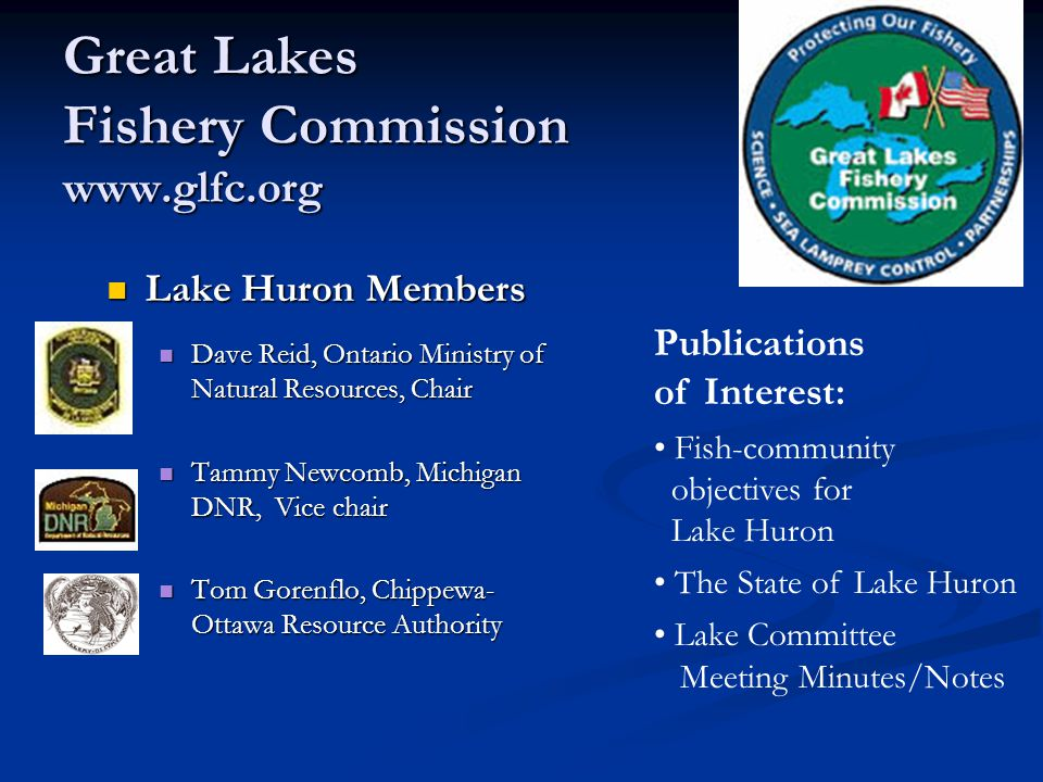 Great Lakes Fishery Commission www.glfc.org Lake Huron Members Dave Reid, Ontario Ministry of Natural Resources, Chair Tammy Newcomb, Michigan DNR, Vice chair Tom Gorenflo, Chippewa- Ottawa Resource Authority Publications of Interest: Fish-community objectives for Lake Huron The State of Lake Huron Lake Committee Meeting Minutes/Notes