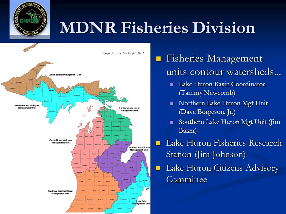 MDNR Fisheries Division Fisheries Management units contour watersheds...