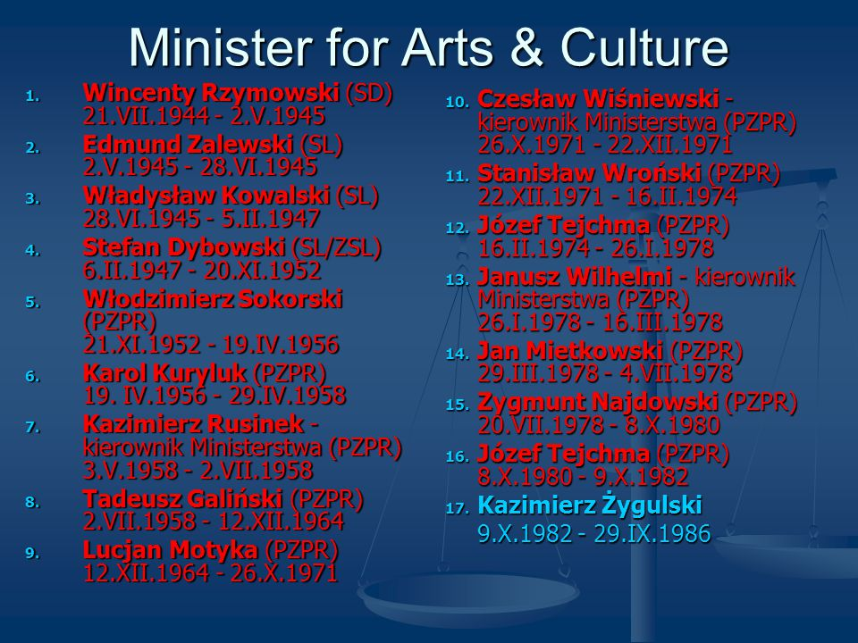 Minister for Arts & Culture 1. Wincenty Rzymowski (SD) 21.VII.1944 - 2.V.1945 2.