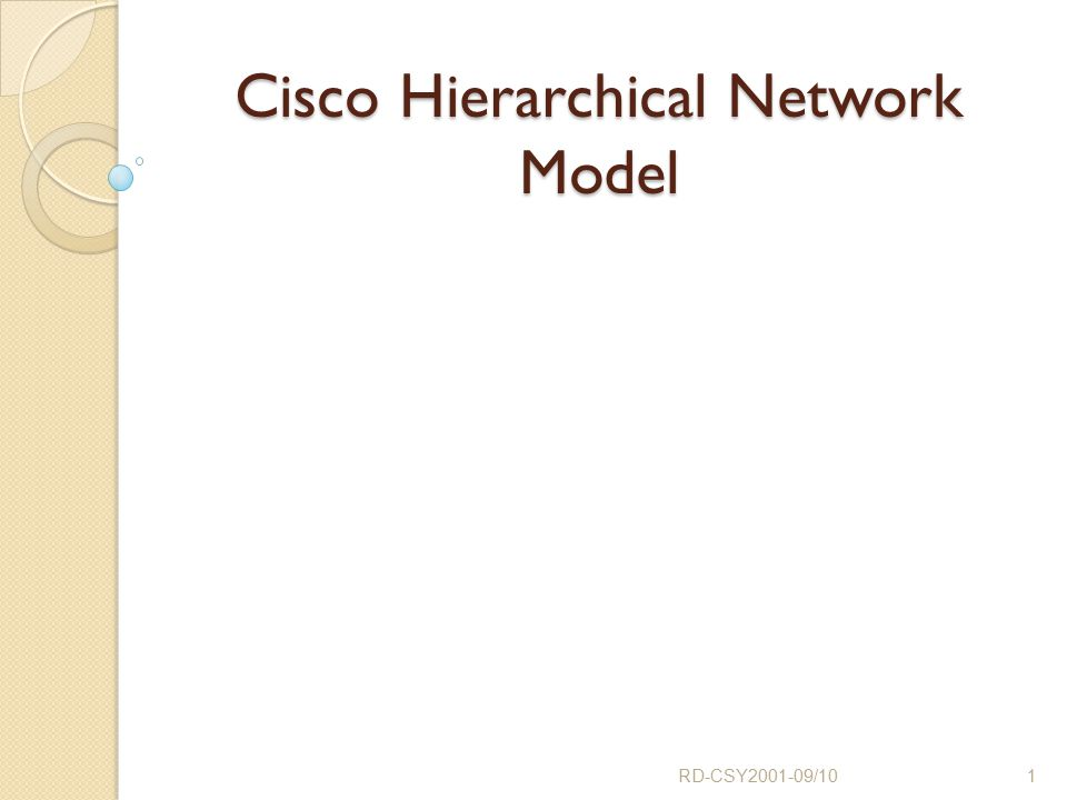 Outline Network Design and Planning for Enterprise networks Cisco 3 Layer hierarchical Model ◦ Core, Distribution and Access Layers ◦ Hub and spoke designs ◦ Mesh topologies RD-CSY2001-09/102