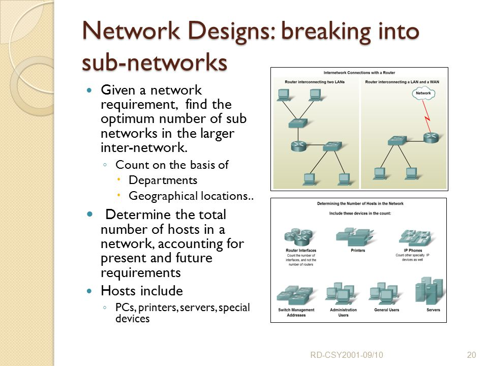 Network Designs: breaking into sub-networks Given a network requirement, find the optimum number of sub networks in the larger inter-network. ◦ Count