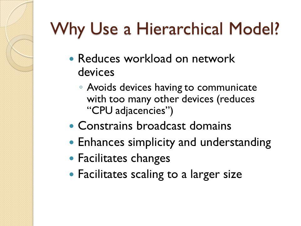 Cisco's Hierarchical Design Model Like OSI 7 layer model, Cisco hierarchical model is a three layered model.