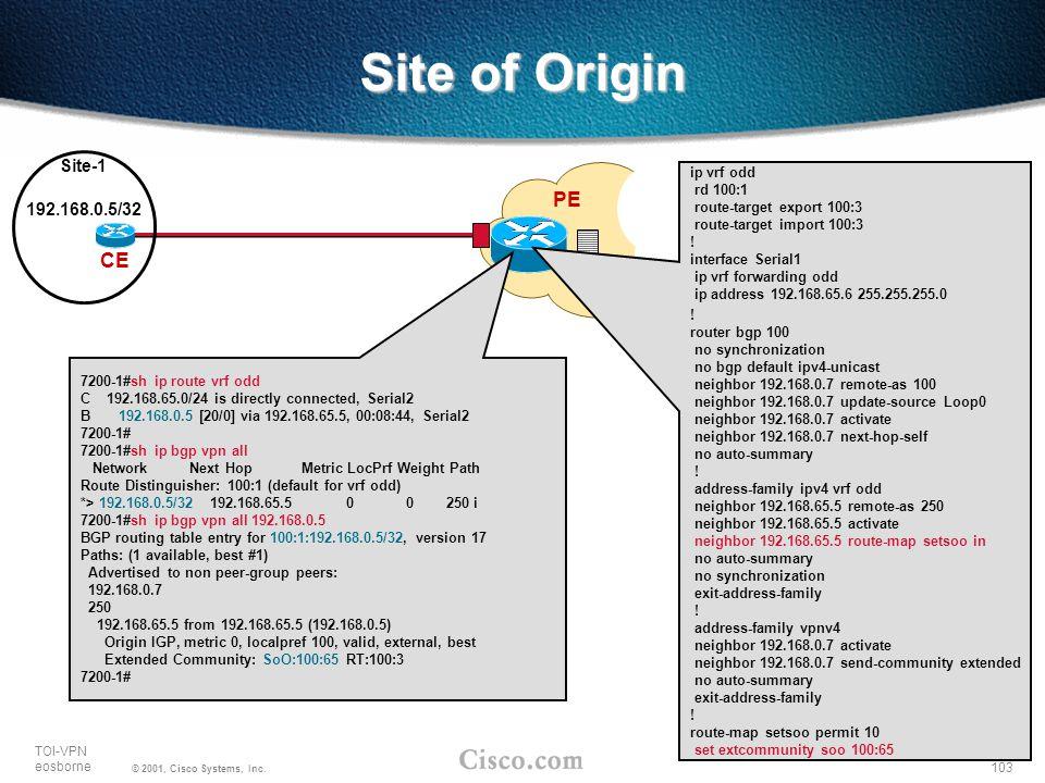 103 TOI-VPN eosborne © 2001, Cisco Systems, Inc. PE CE Site-1 Site of Origin ip vrf odd rd 100:1 route-target export 100:3 route-target import 100:3 !