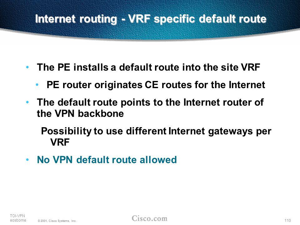 110 TOI-VPN eosborne © 2001, Cisco Systems, Inc. Internet routing - VRF specific default route The PE installs a default route into the site VRF PE ro