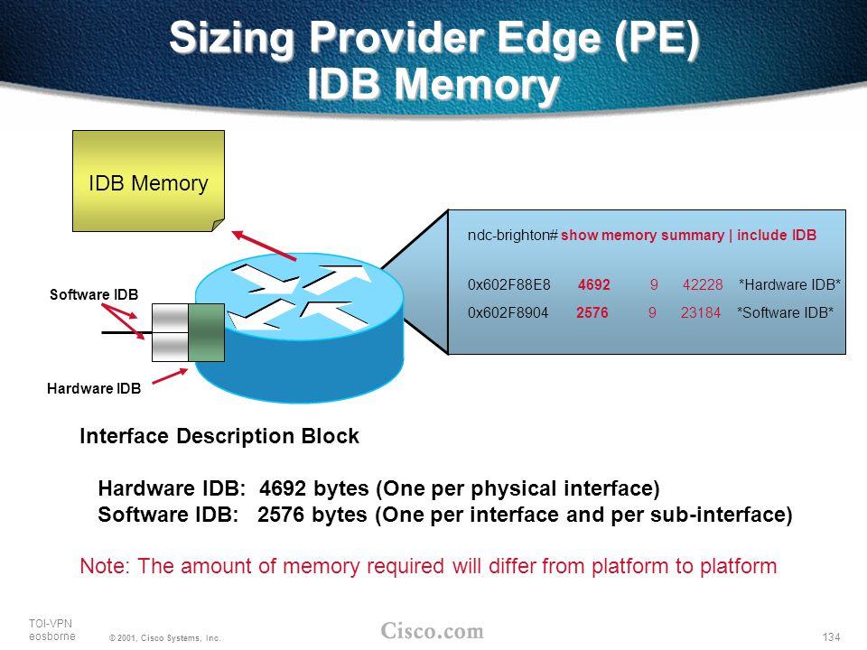 134 TOI-VPN eosborne © 2001, Cisco Systems, Inc. Sizing Provider Edge (PE) IDB Memory IDB Memory ndc-brighton# show memory summary | include IDB 0x602