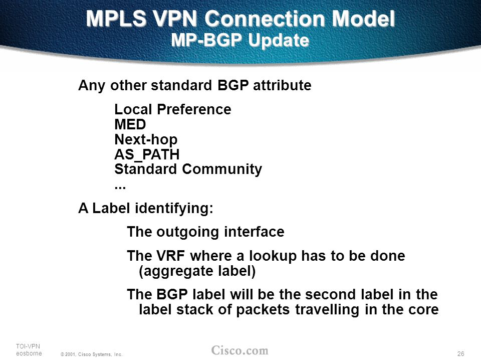 26 TOI-VPN eosborne © 2001, Cisco Systems, Inc. MPLS VPN Connection Model MP-BGP Update Any other standard BGP attribute Local Preference MED Next-hop