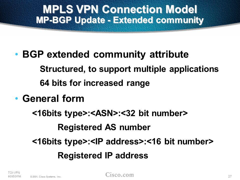 27 TOI-VPN eosborne © 2001, Cisco Systems, Inc. MPLS VPN Connection Model MP-BGP Update - Extended community BGP extended community attribute Structur