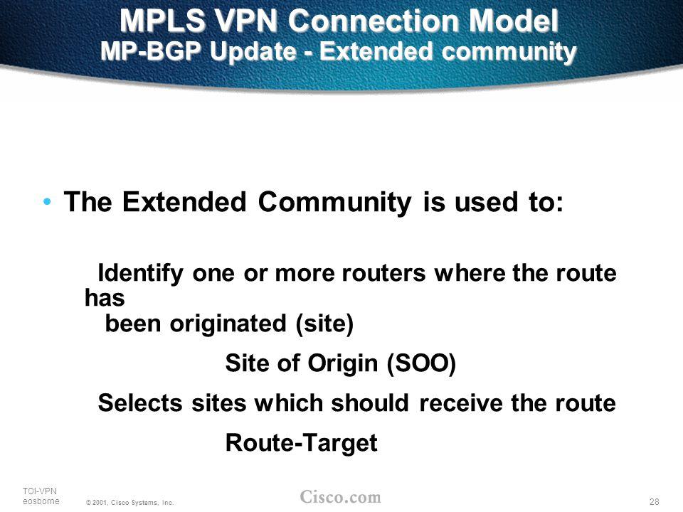 28 TOI-VPN eosborne © 2001, Cisco Systems, Inc. MPLS VPN Connection Model MP-BGP Update - Extended community The Extended Community is used to: Identi