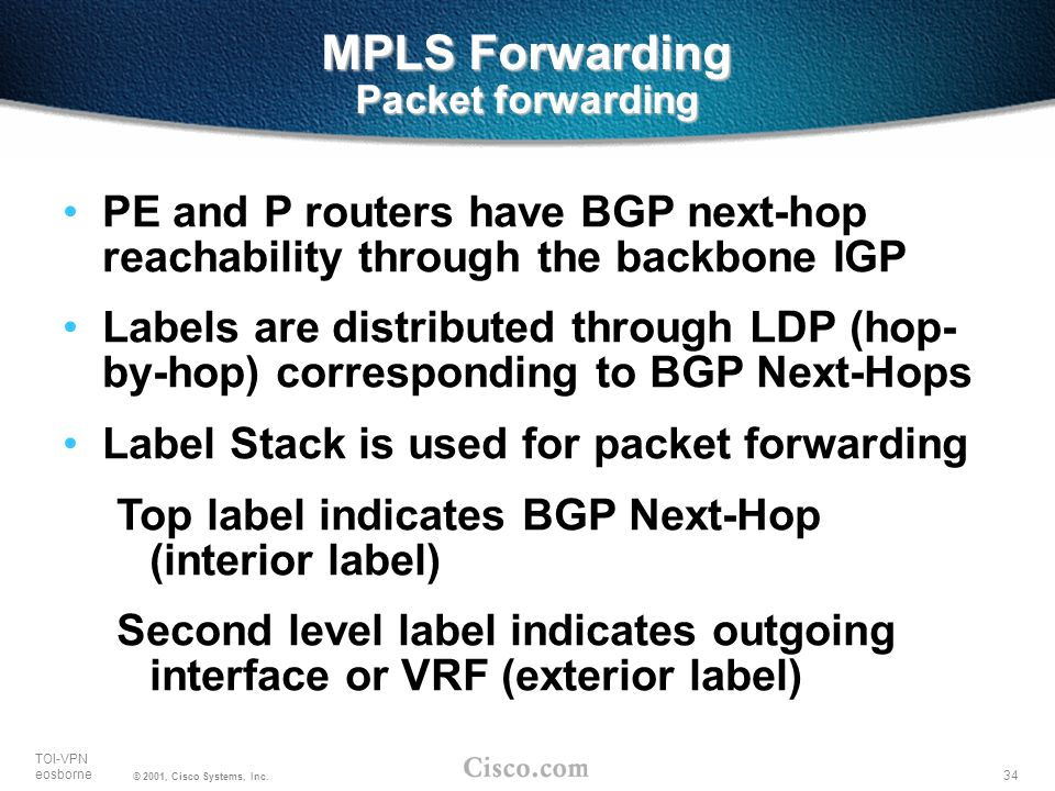34 TOI-VPN eosborne © 2001, Cisco Systems, Inc. MPLS Forwarding Packet forwarding PE and P routers have BGP next-hop reachability through the backbone