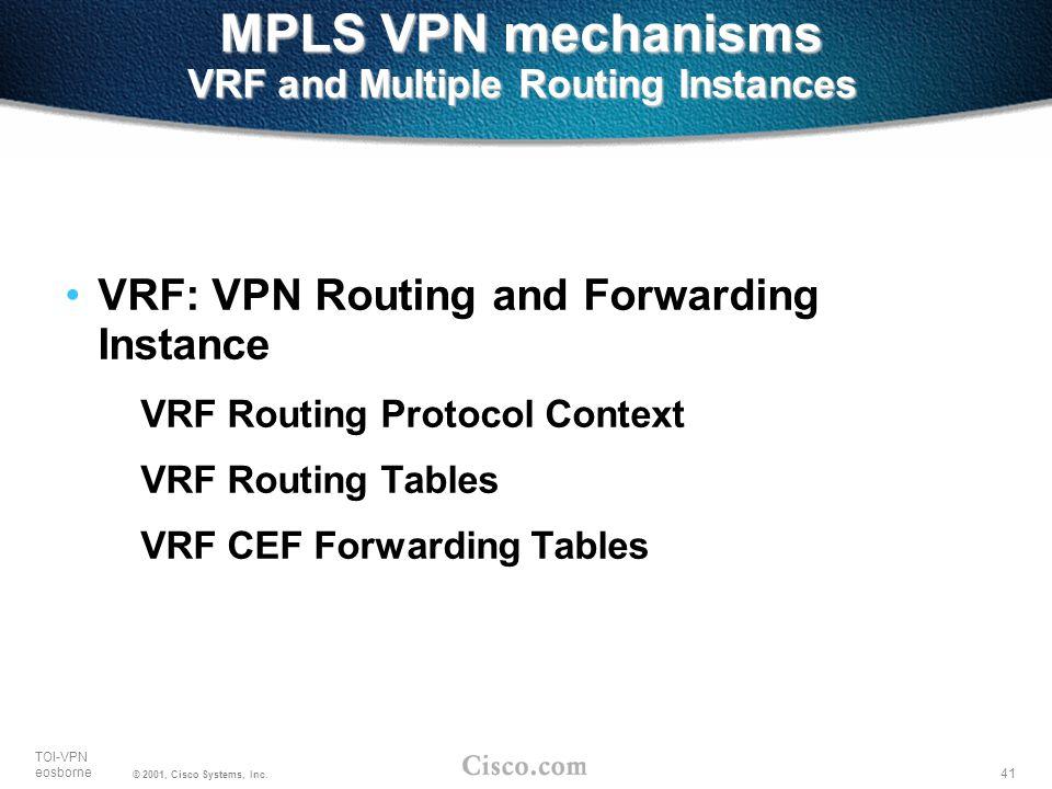 41 TOI-VPN eosborne © 2001, Cisco Systems, Inc. MPLS VPN mechanisms VRF and Multiple Routing Instances VRF: VPN Routing and Forwarding Instance VRF Ro