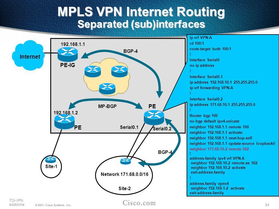 64 TOI-VPN eosborne © 2001, Cisco Systems, Inc. MPLS VPN Internet Routing Separated (sub)interfaces PE Internet Site-1 PE-IG Site-2 Network 171.68.0.0