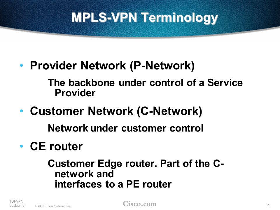9 TOI-VPN eosborne © 2001, Cisco Systems, Inc. MPLS-VPN Terminology Provider Network (P-Network) The backbone under control of a Service Provider Cust