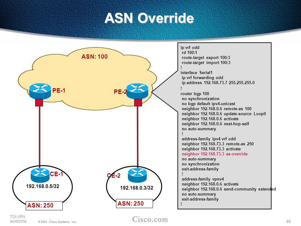 98 TOI-VPN eosborne © 2001, Cisco Systems, Inc. ASN Override PE-1 CE-1 192.168.0.5/32 PE-2 CE-2 192.168.0.3/32 ASN: 250 ASN: 100 ip vrf odd rd 100:1 r