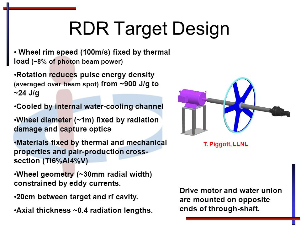 RDR Target Design Wheel rim speed (100m/s) fixed by thermal load (~8% of photon beam power) Rotation reduces pulse energy density (averaged over beam spot) from ~900 J/g to ~24 J/g Cooled by internal water-cooling channel Wheel diameter (~1m) fixed by radiation damage and capture optics Materials fixed by thermal and mechanical properties and pair-production cross- section (Ti6%Al4%V) Wheel geometry (~30mm radial width) constrained by eddy currents.