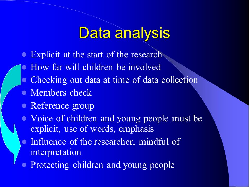Data analysis Explicit at the start of the research How far will children be involved Checking out data at time of data collection Members check Refer