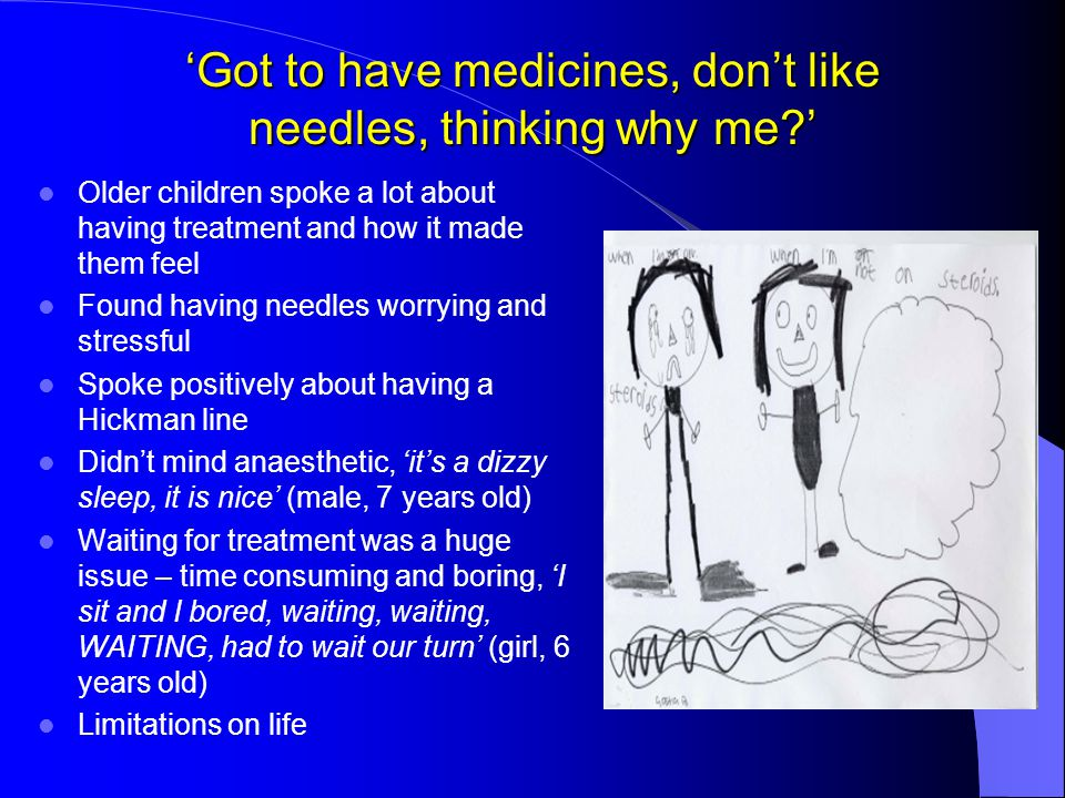 'Got to have medicines, don't like needles, thinking why me?' Older children spoke a lot about having treatment and how it made them feel Found having