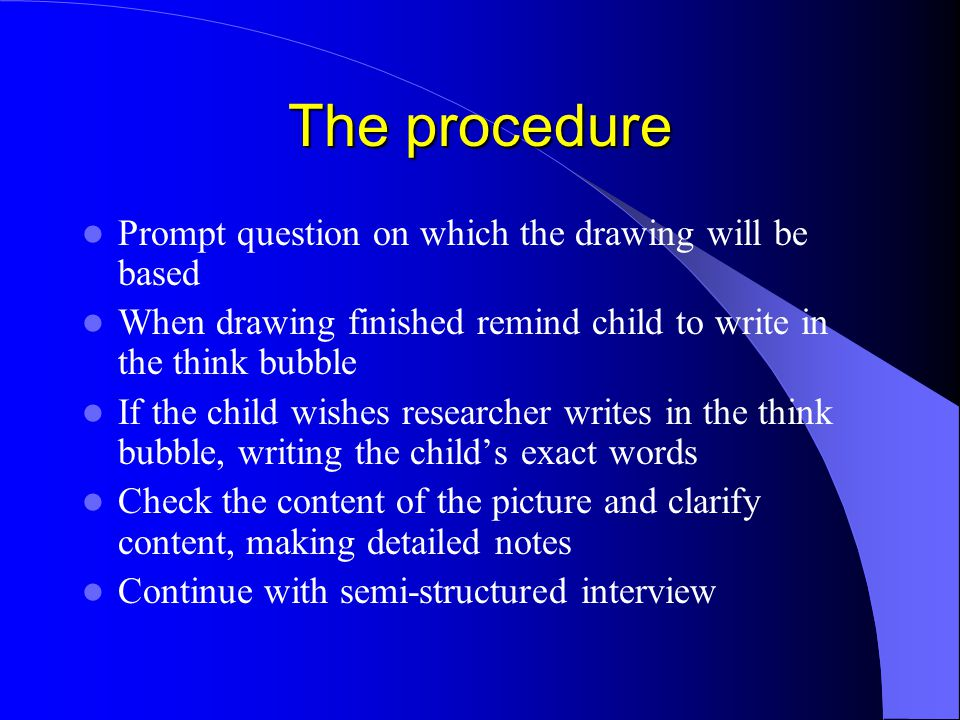 The procedure Prompt question on which the drawing will be based When drawing finished remind child to write in the think bubble If the child wishes r