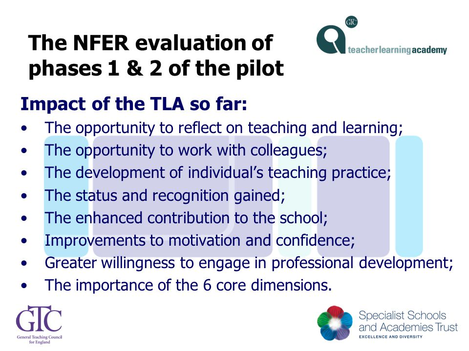 The NFER evaluation of phases 1 & 2 of the pilot Impact of the TLA so far: The opportunity to reflect on teaching and learning; The opportunity to wor