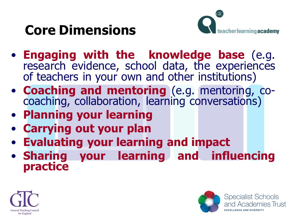 Core Dimensions Engaging with the knowledge base (e.g. research evidence, school data, the experiences of teachers in your own and other institutions)