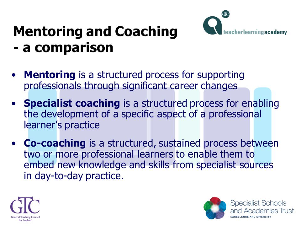 Mentoring and Coaching - a comparison Mentoring is a structured process for supporting professionals through significant career changes Specialist coa