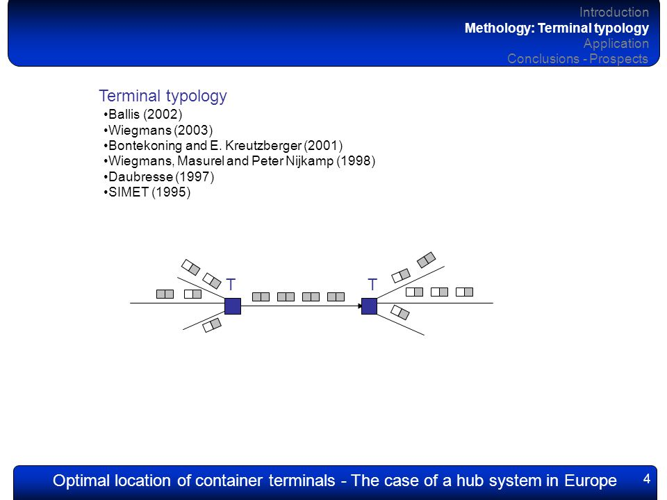 Optimal location of container terminals - The case of a hub system in Europe 15 Introduction Methology Application: Calibrated reference scenario Conclusions - Prospects Multi-modal, multi-flows assignment