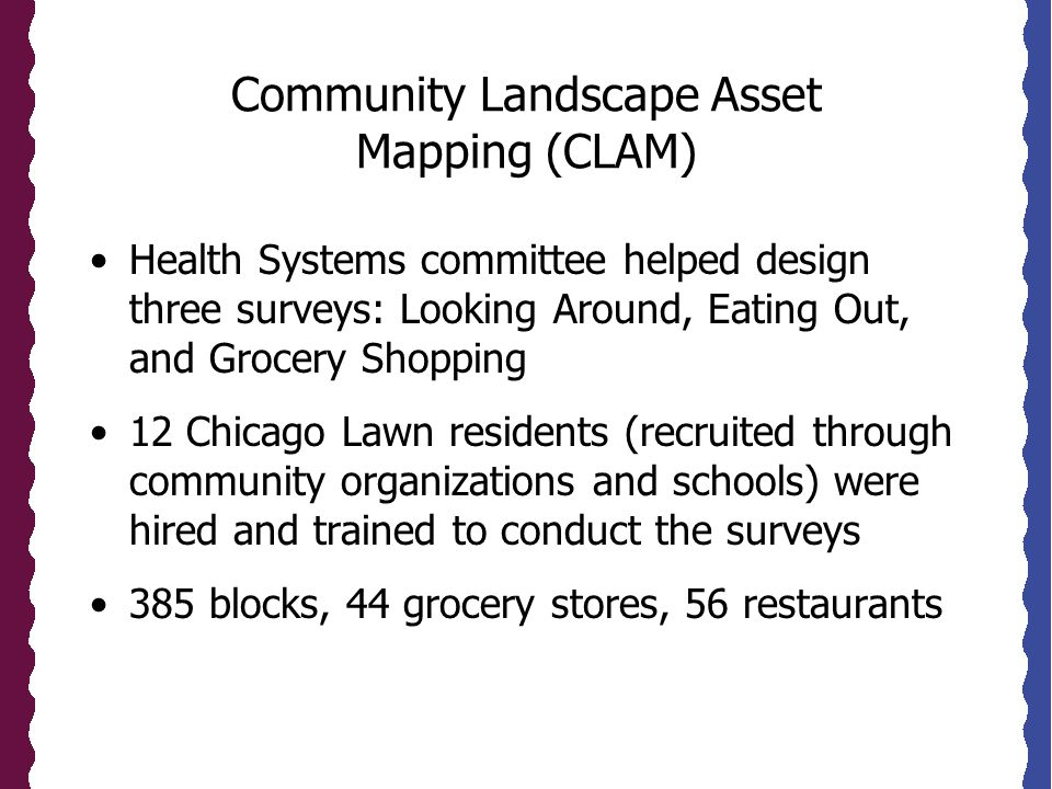 Community Landscape Asset Mapping (CLAM) Health Systems committee helped design three surveys: Looking Around, Eating Out, and Grocery Shopping 12 Chicago Lawn residents (recruited through community organizations and schools) were hired and trained to conduct the surveys 385 blocks, 44 grocery stores, 56 restaurants