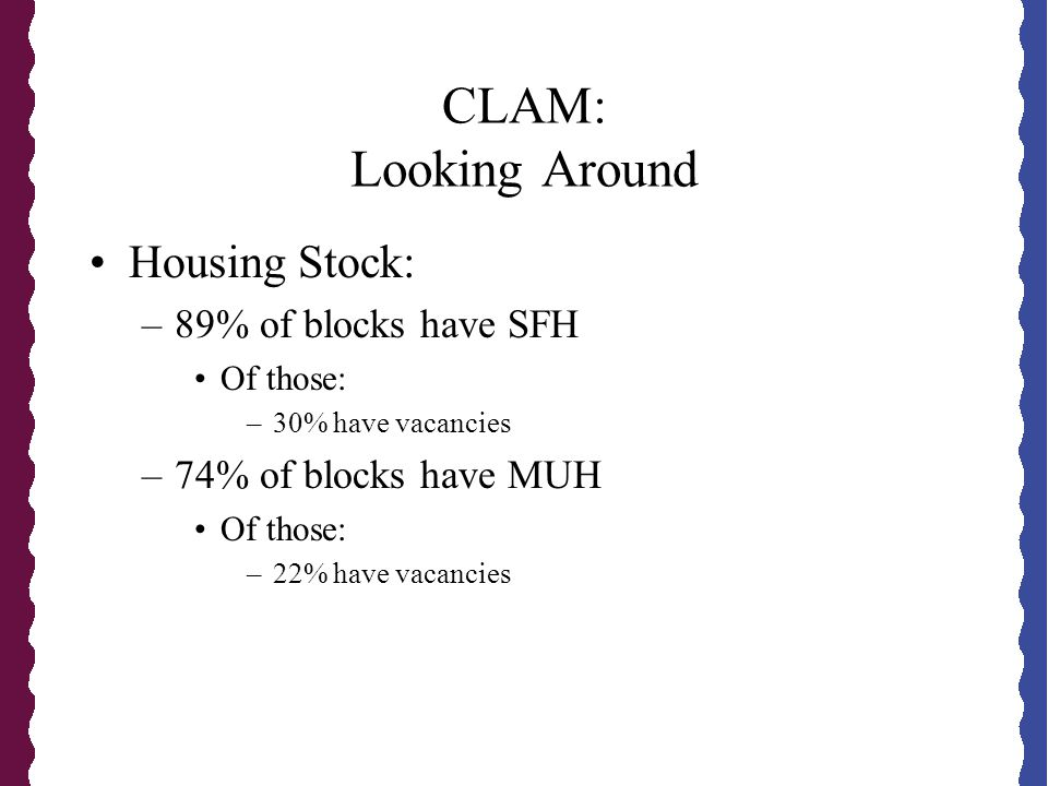 CLAM: Looking Around Housing Stock: –89% of blocks have SFH Of those: –30% have vacancies –74% of blocks have MUH Of those: –22% have vacancies