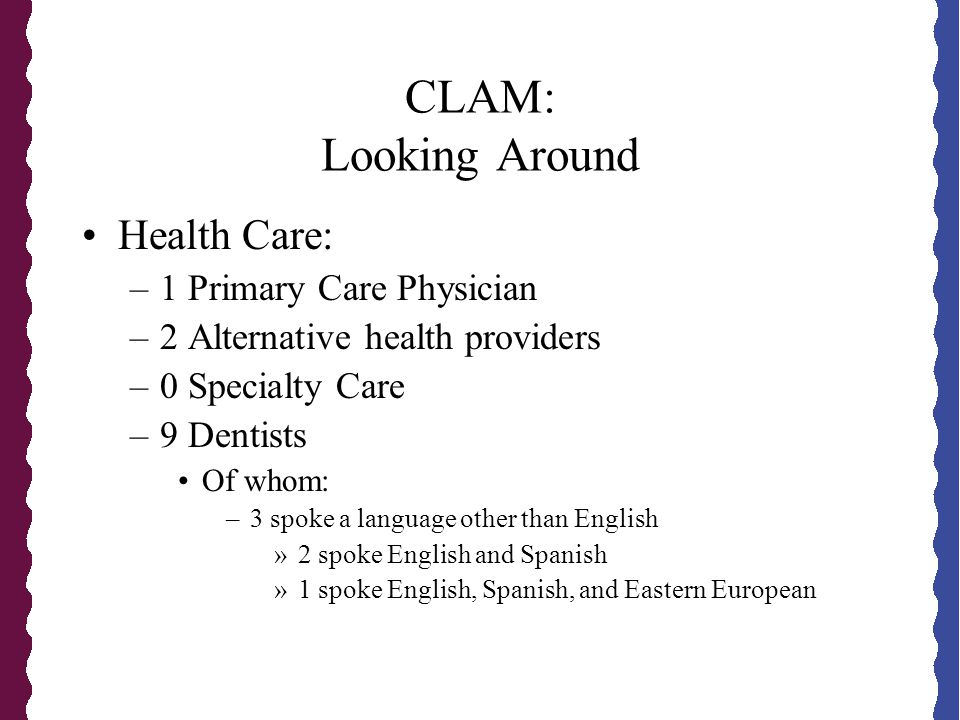 CLAM: Looking Around Health Care: –1 Primary Care Physician –2 Alternative health providers –0 Specialty Care –9 Dentists Of whom: –3 spoke a language other than English »2 spoke English and Spanish »1 spoke English, Spanish, and Eastern European