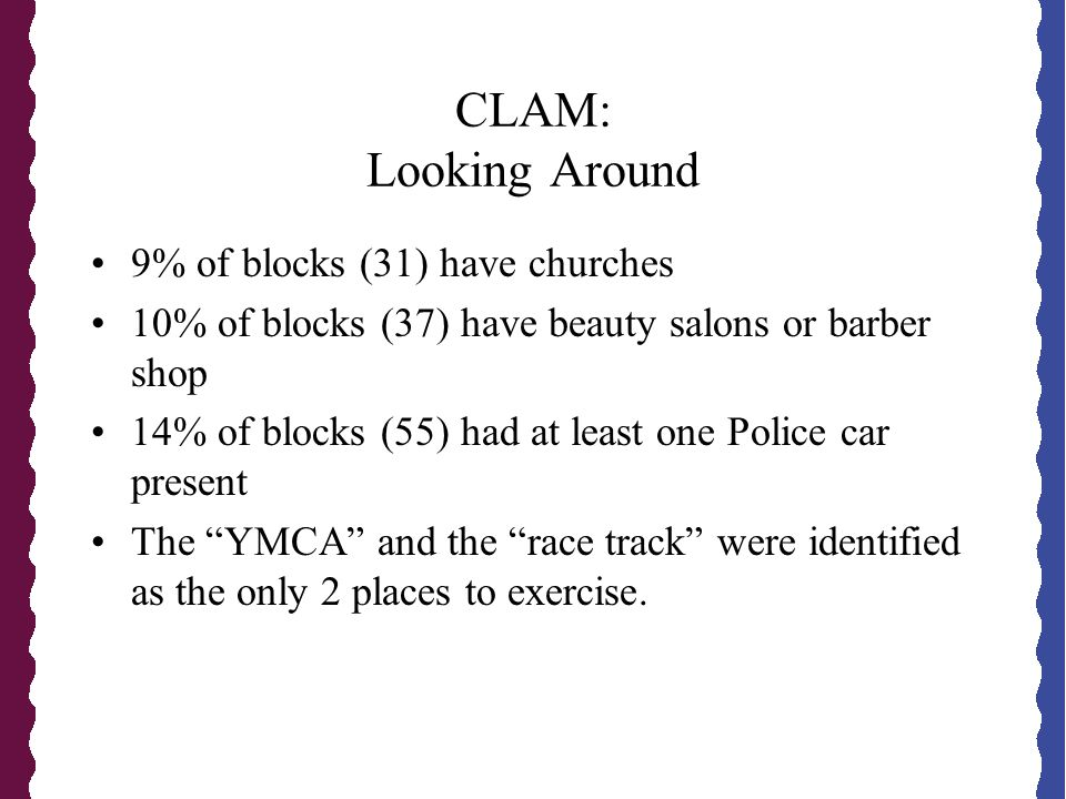 CLAM: Looking Around 9% of blocks (31) have churches 10% of blocks (37) have beauty salons or barber shop 14% of blocks (55) had at least one Police car present The YMCA and the race track were identified as the only 2 places to exercise.