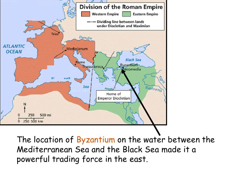 The location of Byzantium on the water between the Mediterranean Sea and the Black Sea made it a powerful trading force in the east.