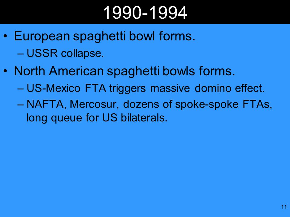 11 1990-1994 European spaghetti bowl forms. –USSR collapse.
