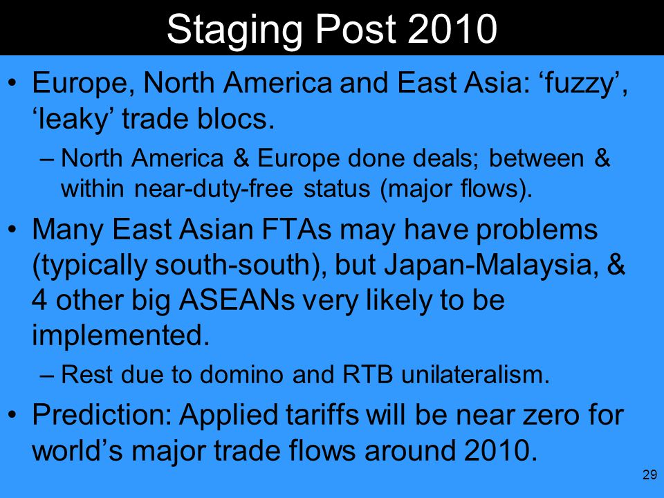 29 Staging Post 2010 Europe, North America and East Asia: 'fuzzy', 'leaky' trade blocs.
