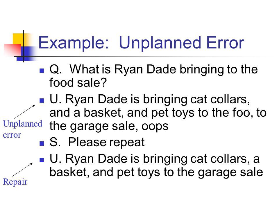 Unplanned error Repair Example: Unplanned Error Q.