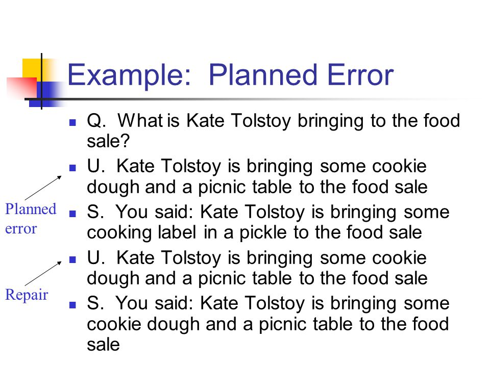 Planned error Repair Example: Planned Error Q. What is Kate Tolstoy bringing to the food sale.