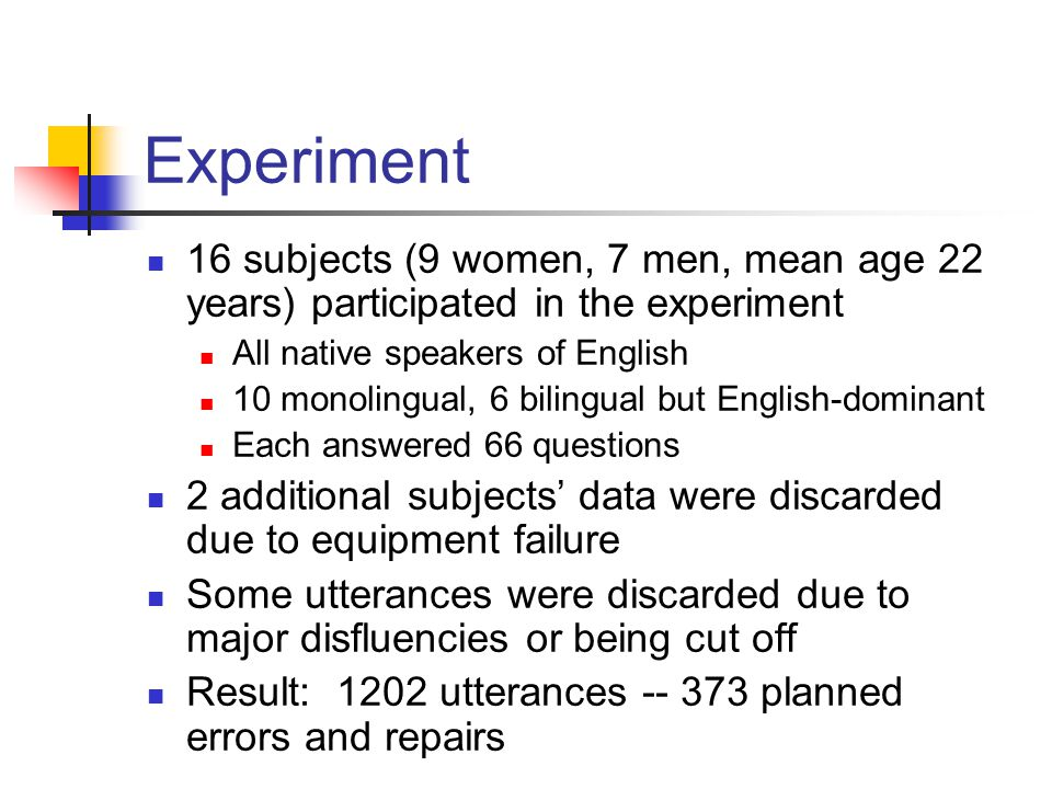 Experiment 16 subjects (9 women, 7 men, mean age 22 years) participated in the experiment All native speakers of English 10 monolingual, 6 bilingual b