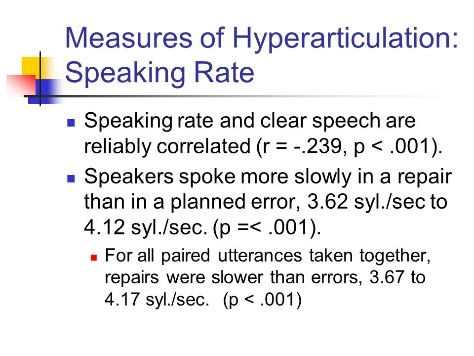 Measures of Hyperarticulation: Speaking Rate Speaking rate and clear speech are reliably correlated (r = -.239, p <.001). Speakers spoke more slowly i