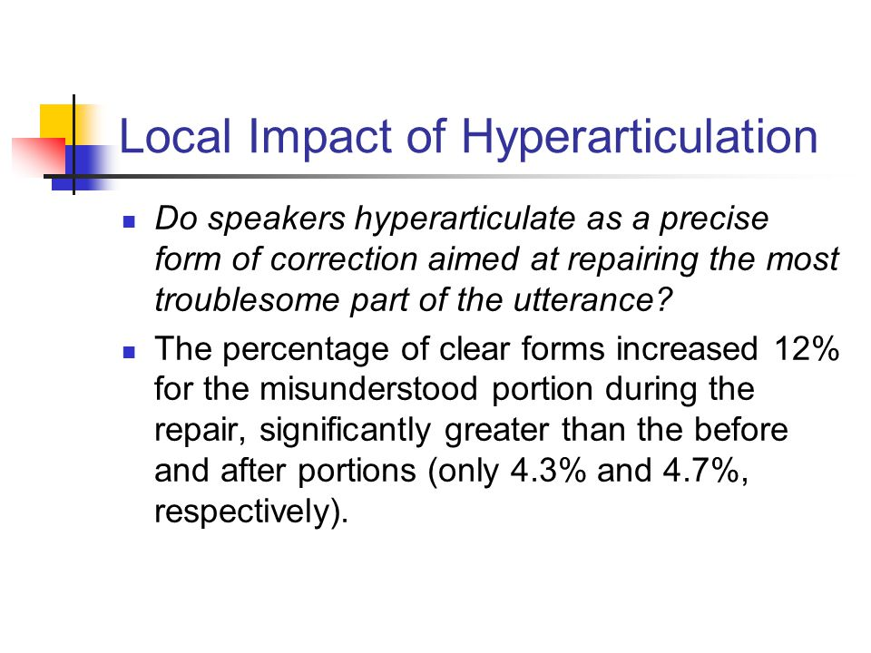 Local Impact of Hyperarticulation Do speakers hyperarticulate as a precise form of correction aimed at repairing the most troublesome part of the utte